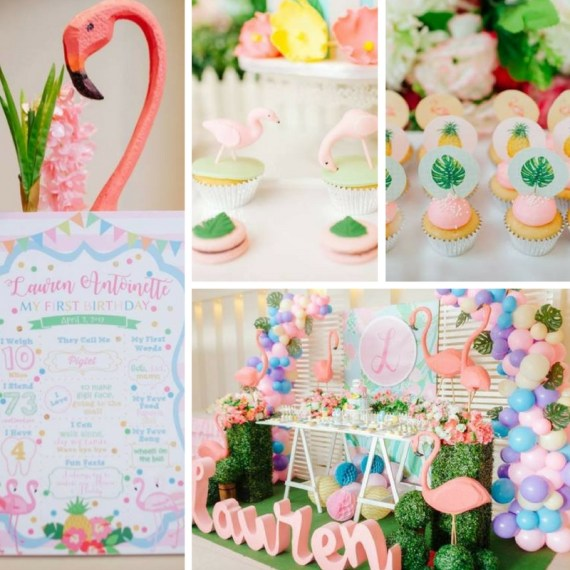 Tropical Flowers And Flamingos Birthday