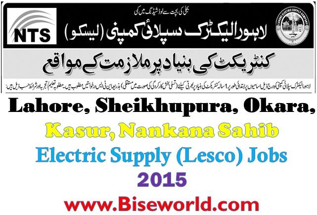 Lesco Lahore Jobs 2015 Pakistan