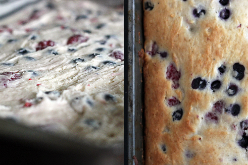 berry yogurt cake collage