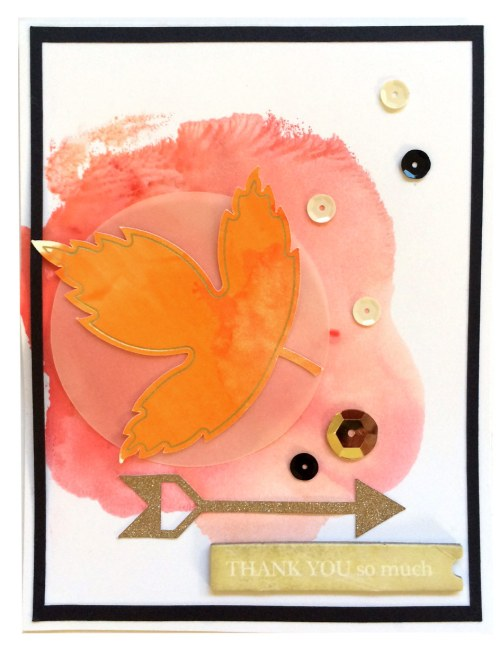 Fall leaf watercolor card with cuttable card sketch