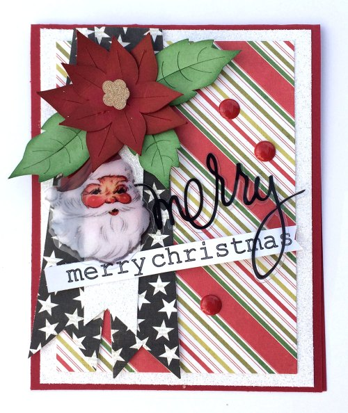 Heidi Swapp Christmas card with Christmas card sketch and poinsettia cut file.