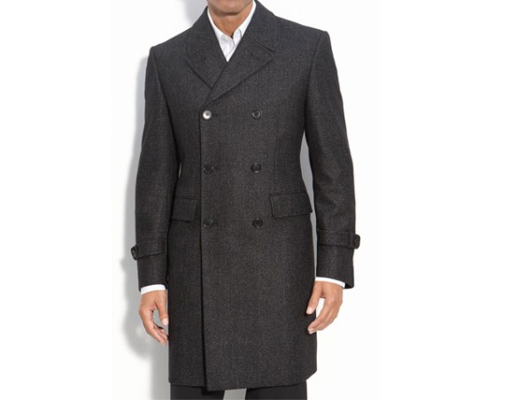 John Varvatos Topcoat, $495  The double-breasted cut is back. This slim cut, six-button, double-breasted, grey topcoat from John Varvatos is a prime example of a trend done well.