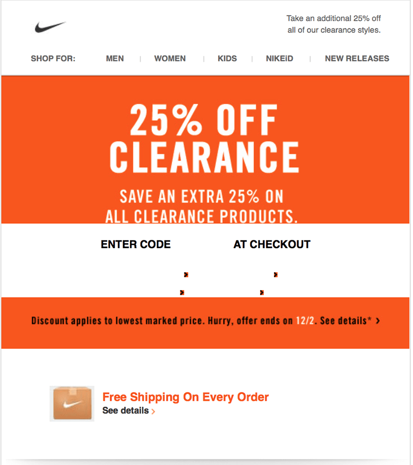 Nike discount coupons