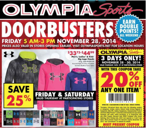 olympia sports black friday ad scan - page 1