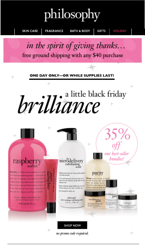 Philosophy black friday ad scan - page 1