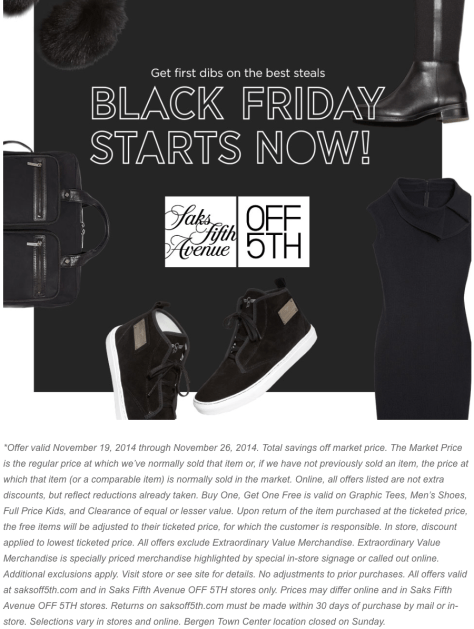 Saks Fifth Avenue OFF 5TH black friday ad scan - page 1