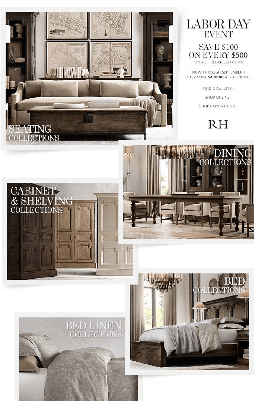 Restoration hardware labor day sale for 2016 for Restoration hardware online shopping