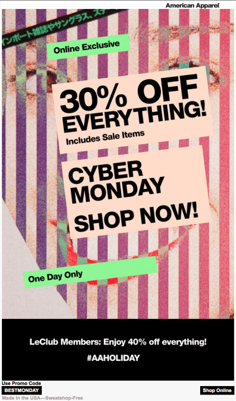 American Apparel Cyber Monday Ad - Page 1