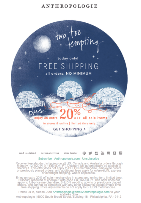 Anthropologie Cyber Monday Ad Scan - Page 1