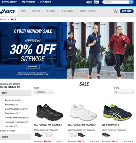 Asics Cyber Monday 2015 Ad - Page 1