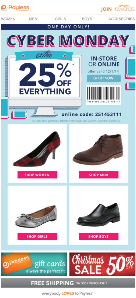 Payless Shoes Cyber Monday Ad - Page 1