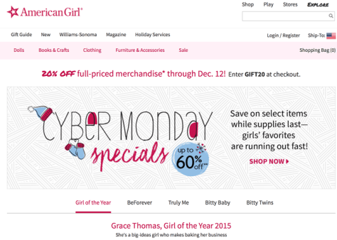 America Girl Cyber Monday 2015 Ad - Page 1
