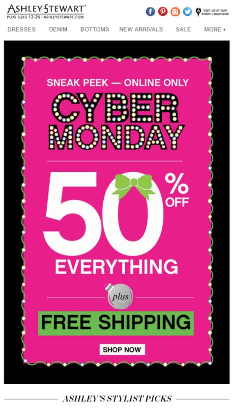 Ashley Stewart Cyber Monday Ad - Page 1