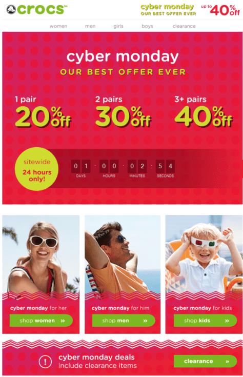 Crocs Cyber Monday 2015 Ad - Page 1