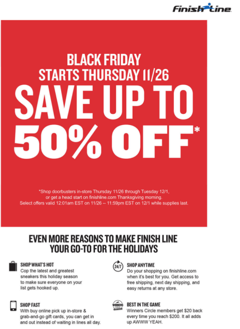Finish Line Cyber Monday 2015 Ad - Page 1