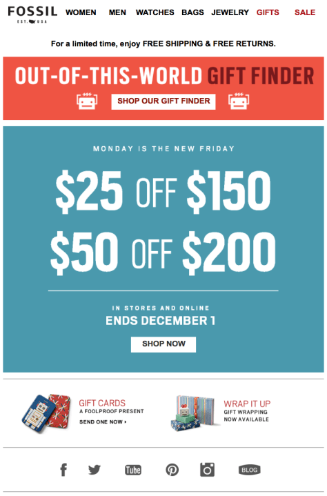 Fossil Cyber Monday Ad - Page 1