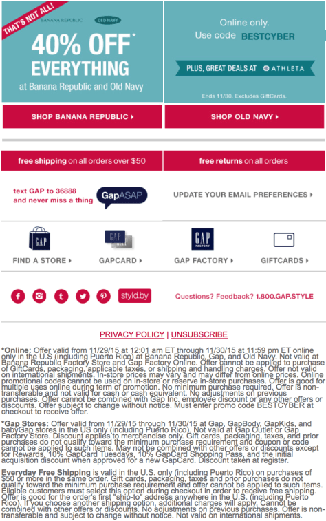 Gap Cyber Monday 2015 Ad - Page 2
