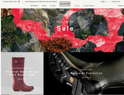 Hunter Boots Cyber Monday 2015 Ad - Page 1