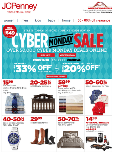JC Penny Cyber Monday 2015 Ad - Page 1