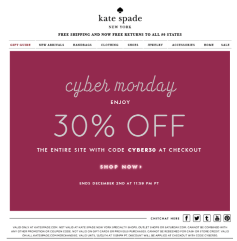 Kate Spade Cyber Monday Ad - Page 1