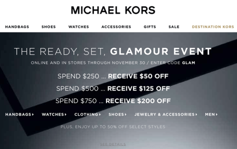 Michael Kors Black Friday 2015 Flyer - Page 1
