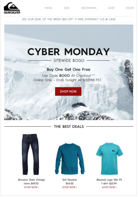 Quiksilver Cyber Monday Ad - Page 1