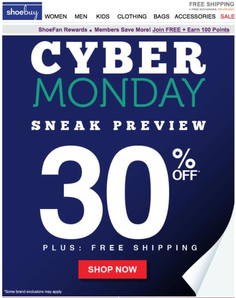 Shoebuy Cyber Monday 2015 Ad - Page 1