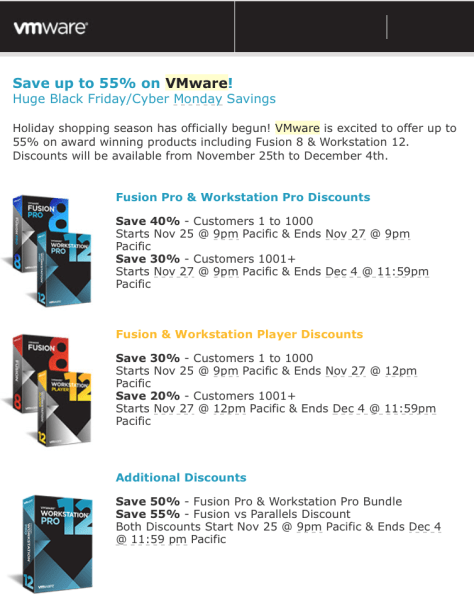 VMware Black Friday 2015 Flyer - Page 1