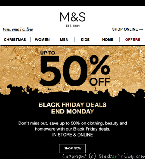 Marks and Spencer Black Friday Ad Scan - Page 1