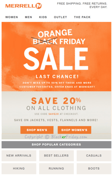 Merrell Cyber Monday Ad Scan - Page 1
