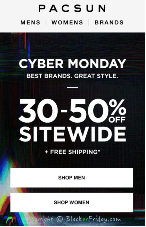 PacSun Cyber Monday Ad Scan - Page 1