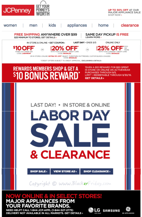 JC Penny Labor Day 2016 Sale - Page 1