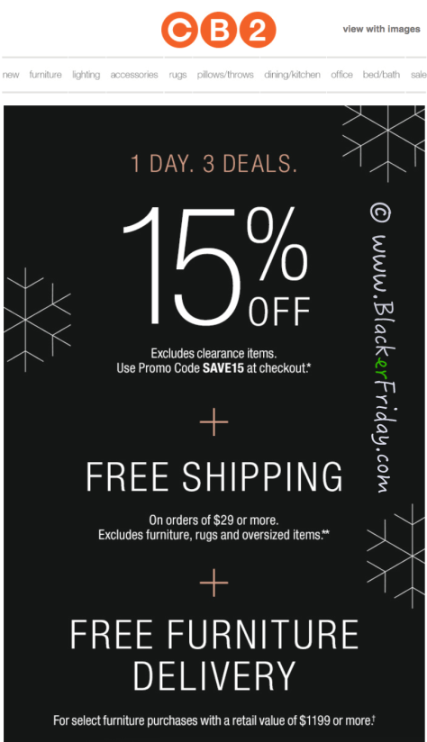 CB2 Cyber Monday Sale Ad Scan - Page 1
