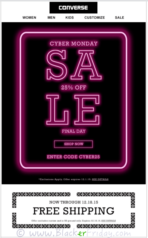 Converse Cyber Monday Sale Ad Scan - Page 1