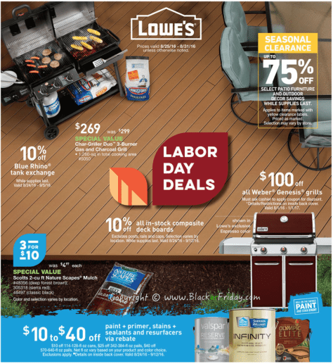 Lowes Labor Day 2016 Sale Flyer - Page 1