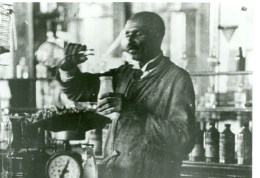 Carver working in lab