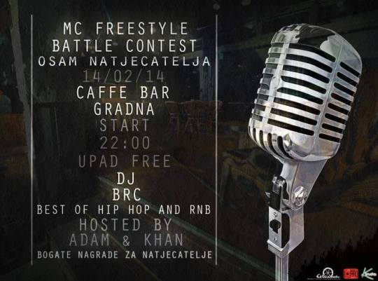 MC Freestyle Battle Contest @ Caffe Bar Gradna, Samobor (14.02.)