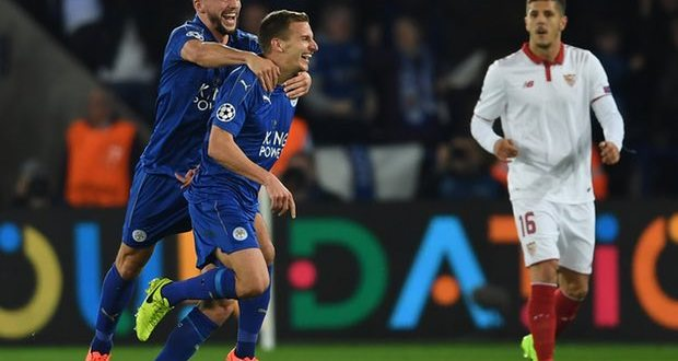 Marc Albrighton scored the goal that made it 2-0 against Sevilla and took Leicester City into the quarter-finals Photograph: Laurence Griffiths/Getty Images