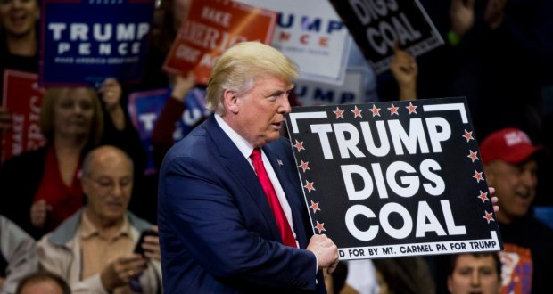 Donald Trump  holds a sign supporting coal during a rally at Mohegan Sun Arena in Wilkes-Barre, Pennsylvania on October 10, 2016. / AFP / DOMINICK REUTER        (Photo credit should read DOMINICK REUTER/AFP/Getty Images)