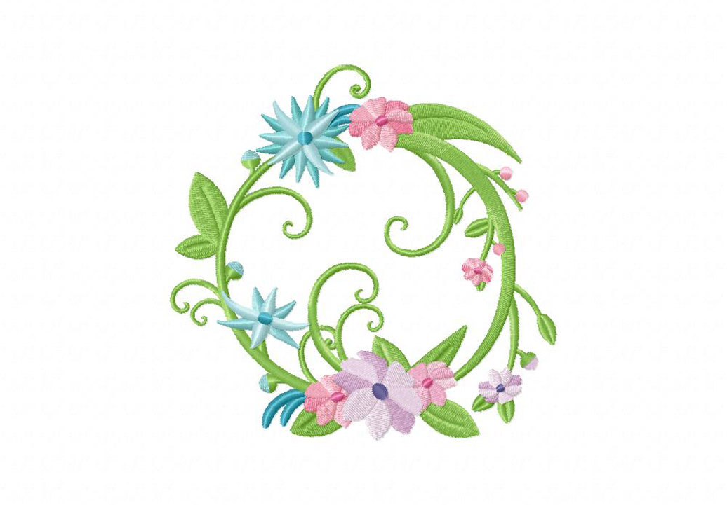 Full floral wreath machine embroidery design