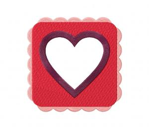 Pink And Purple Square Heart Frame Stitched 5_5 Inch