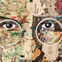 A portrait of Steve Jobs made out of Apple e-waste