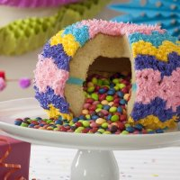 Surprise inside! Specialty pan makes it easy to create a piñata cake