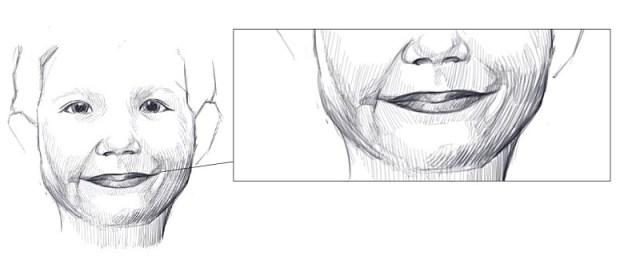 Essayez de rendre la subtile expression du sourire avec la fossette qui se trouve au coin des lèvres.