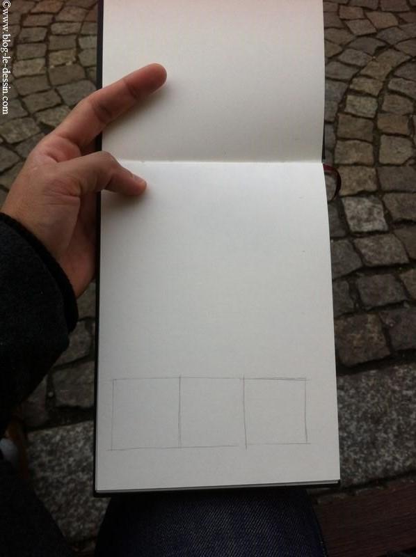 La base de 3 carrés de large pour commencer mon dessin