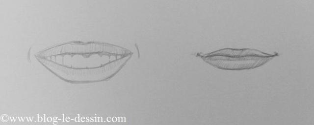 deux exemples dessiner une bouche qui sourit