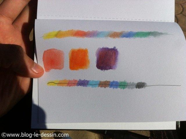 test crayons aquarelle
