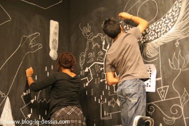 cours de dessin sur le mur