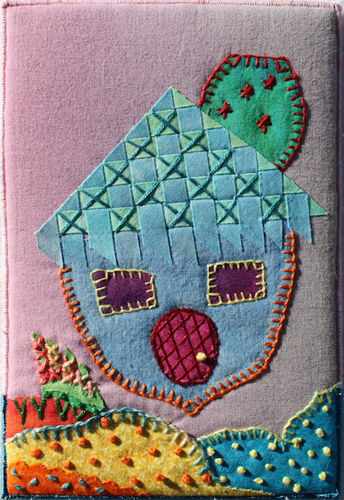 quilted art postcard of the Acorn house, hand embroidered