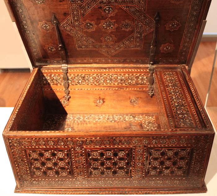 Box Spain 16th century Wood inlaid with bone, wood and mother-of-pearl